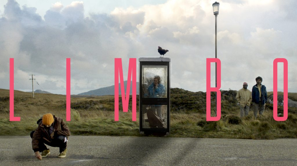 """Poster for the Film LIMBO, man in a telephone box making a call with the title """"LIMBO"""""""